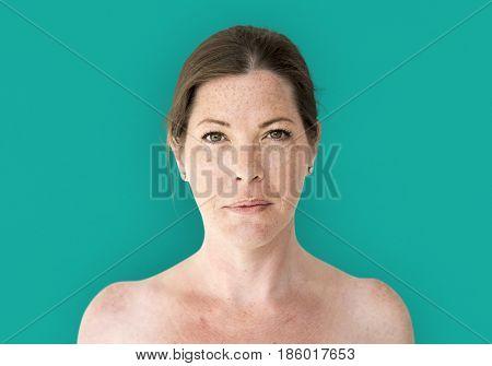 Woman bare chest topless studio portrait