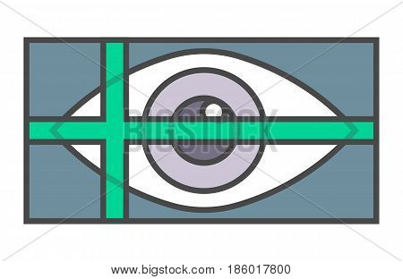 Retina scan system pictogram isolated on white background vector illustration. Business protection, security information, identity verification icon.