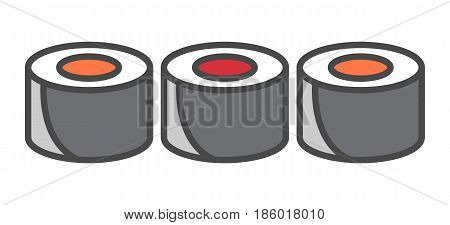 Traditional sushi roll icon isolated vector illustration. Japanese delicious seafood, asian culinary, diet healthy food pictogram.
