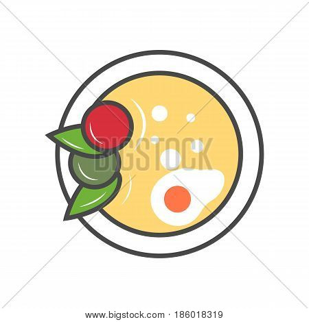 Asian soup in plate icon isolated vector illustration. Japanese delicious seafood, traditional asian culinary, diet healthy food pictogram.