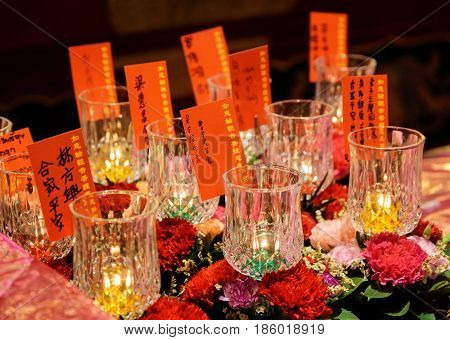 Flowers And Burning Candles, The Buddha Tooth Relic Temple
