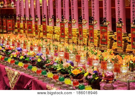 Ritual Candles And Flowers, The Buddha Tooth Relic Temple