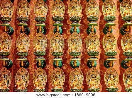 Wall With Small Buddha Statues, The Buddha Tooth Relic Temple