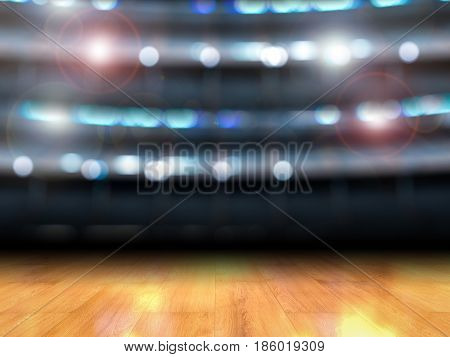 3d rendering gymnasium background with wooden floor