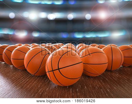 3d rendering basketball balls on wooden floor with shining lights