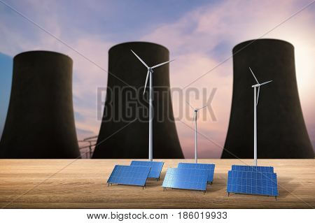 Energy Concept With Solar Cells, Wind Turbines And Nuclear Reactors