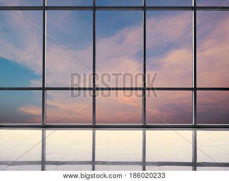 glasses window with glass window and twilight sky background