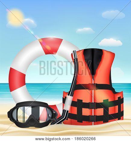 diving mask snorkel life vest and safety torus