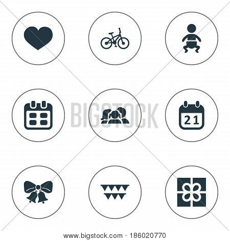 Vector Illustration Set Of Simple Celebration Icons. Elements Soul, Resonate, Domestic And Other Synonyms Feelings, Sport And People.