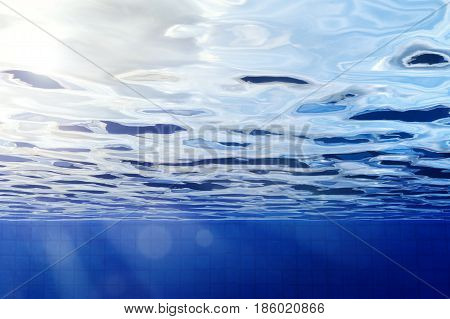 3d rendering underwater pool with shining light
