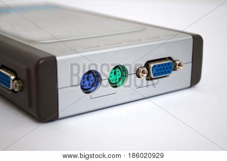 Gray white modem on a white background