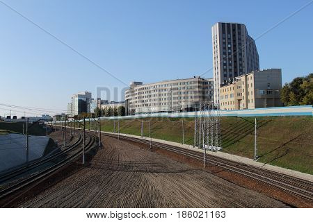 The railway track in the centre of Novosibirsk.