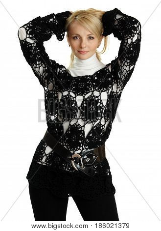 Beautiful girl in black knitted jacket isolated on white.