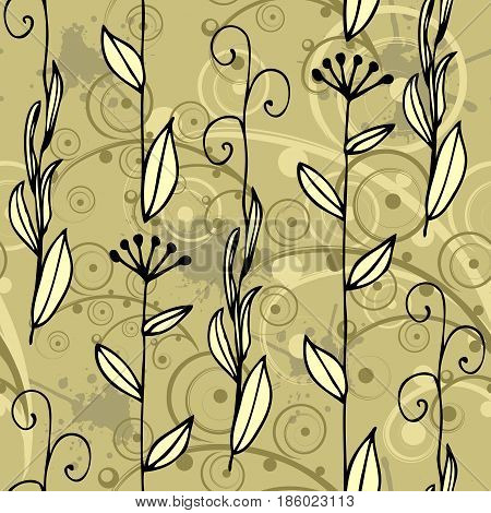 vector seamless floral abstract hand-drawn pattern for interior and other design