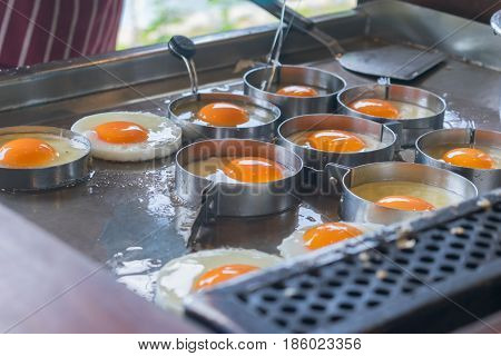 Fried egg Buffet food in the morning.