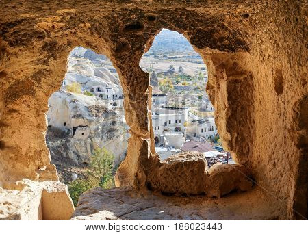 View Through Carved Cave Window. Church Of St. John The Baptist In Cavusin. Cappadocia. Turkey