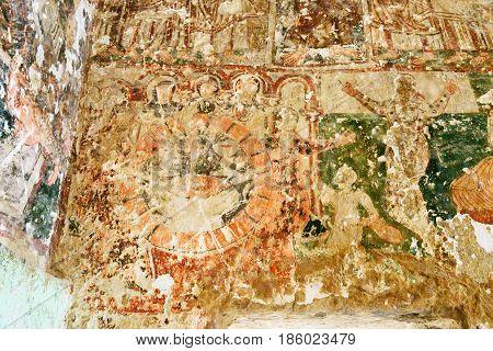 Ancient Fresco In Church Of St. John The Baptist In Cavusin. Cappadocia. Turkey