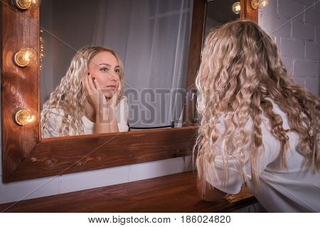 Girl In A Pink Dress In The Room
