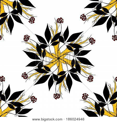 Root and leaves panax ginseng sketch style seamless pattern. Hand draw vintage illustration of medicinal plants in color.