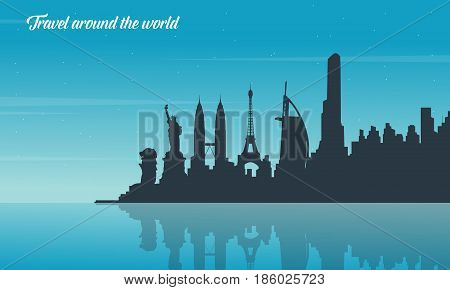 Theme of travel flat vector collection stock