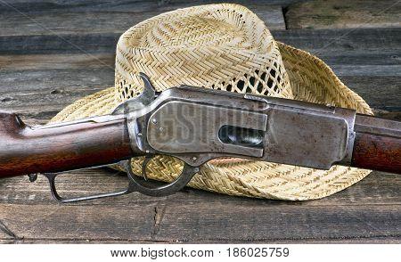 Antique lever action gun that won the wild west.