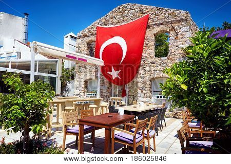 Restaurant With Red Turkish Flag