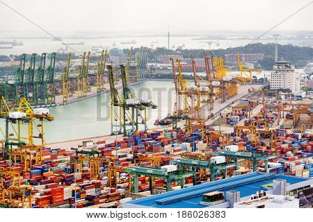 Container Terminal At The Port Of Singapore And Keppel Harbour