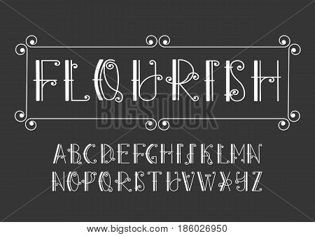 Vector alphabet set. Uppercase letters with decorative flourishes. Images and associations: forged fence garden Art Nouveau style old movie titles.
