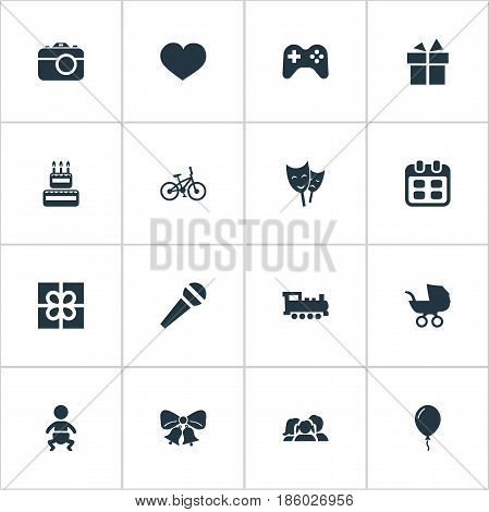 Vector Illustration Set Of Simple Celebration Icons. Elements Domestic, Confectionery, Infant And Other Synonyms Cake, Carriage And Confectionery.