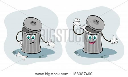 Vector illustration of litter bins. Clean planet.