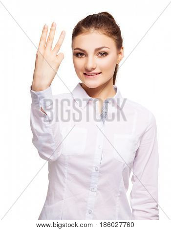 Woman at white background. Young female shows gesture