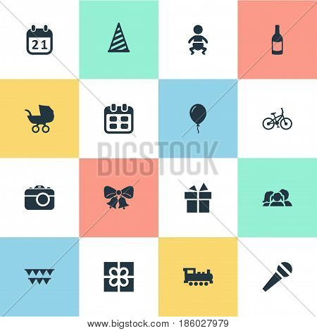 Vector Illustration Set Of Simple Birthday Icons. Elements Ribbon, Domestic, Train And Other Synonyms Calendar, Domestic And Hat.