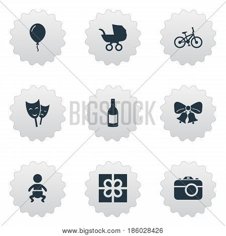 Vector Illustration Set Of Simple Celebration Icons. Elements Resonate, Mask, Infant And Other Synonyms Bike, Fizz And Beverage.