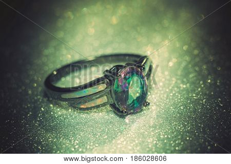 Rainbow Topaz Ring Filtered