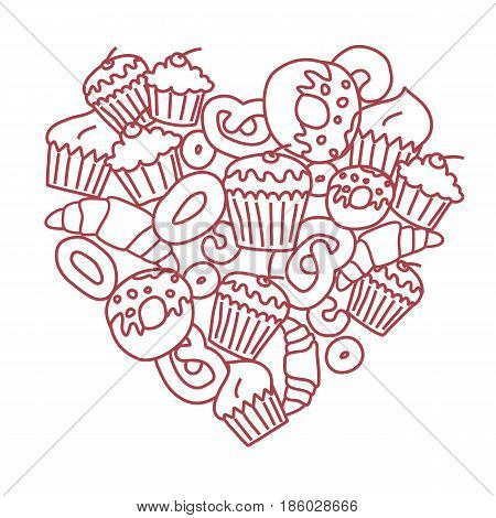 Vector heart made of muffins, rolls and other pastries.