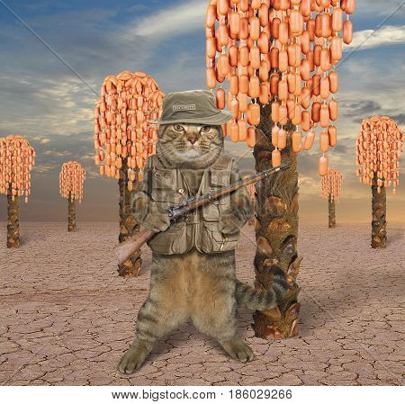 The cat watchman is guarding the sausage tree plantation.