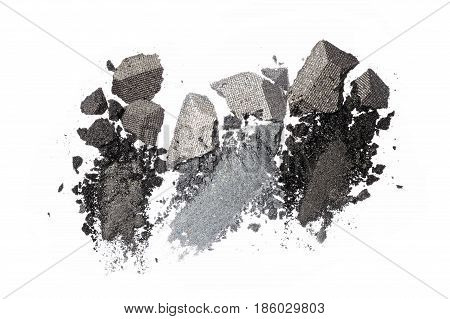 Smears Of Crushed Shiny Gray Eyeshadow As Sample Of Cosmetic Product