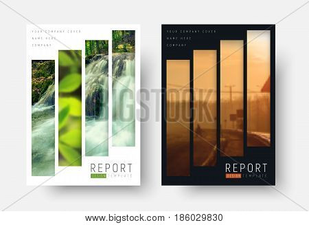 Design of black and white covers in a minimalist style. Templates flyers with rectangular vertical blocks for your photo. Vector illustration