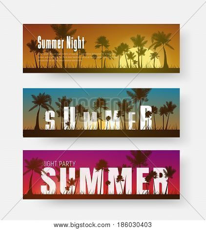 Set Of Horizontal Banners With A Summer Sunset Of Different Colors