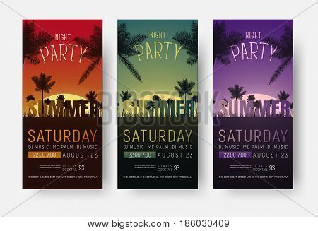 Flyer Templates For A Summer Party. Design Of Vertical Banners
