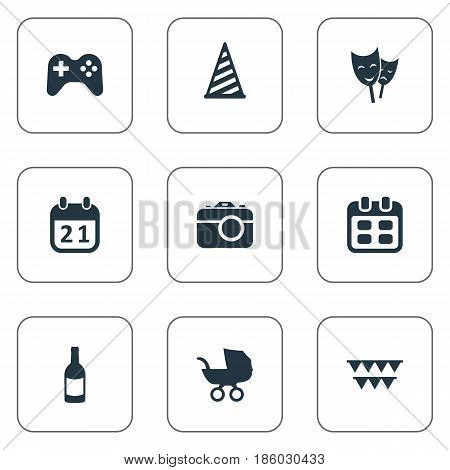 Vector Illustration Set Of Simple Birthday Icons. Elements Cap, Camera, Game And Other Synonyms Theater, Cap And Day.