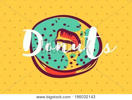 Vector hand drawn donut with green glaze poster or card. Sketch cards. Cute vintage illustrations. Vector stock illustration. . Donut glaze background. Template for design.