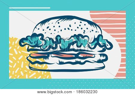 Vector hand drawn hamburger poster or card. Sketch cards. Cute vintage illustrations. Vector stock illustration. . Hamburger background. Template for design or tshirt.
