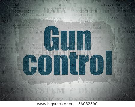 Security concept: Painted blue text Gun Control on Digital Data Paper background with   Tag Cloud