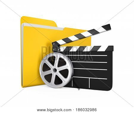 Movie Folder, Clapper Board and Film Reel isolated on white background. 3D render
