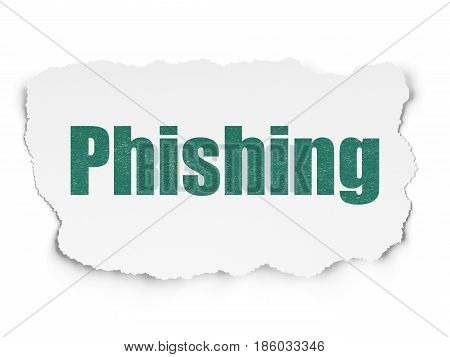 Safety concept: Painted green text Phishing on Torn Paper background with Scheme Of Hexadecimal Code