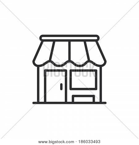 Shop store line icon outline vector sign linear style pictogram isolated on white. Market symbol logo illustration. Editable stroke. Pixel perfect