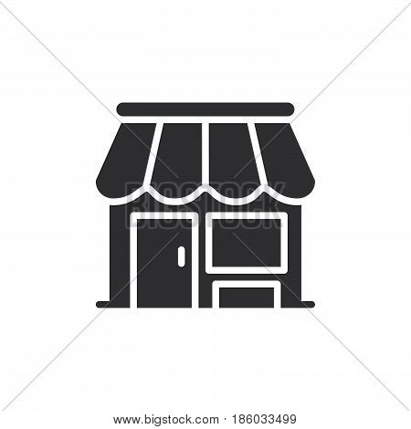 Shop store icon vector filled flat sign solid pictogram isolated on white. Market symbol logo illustration. Pixel perfect