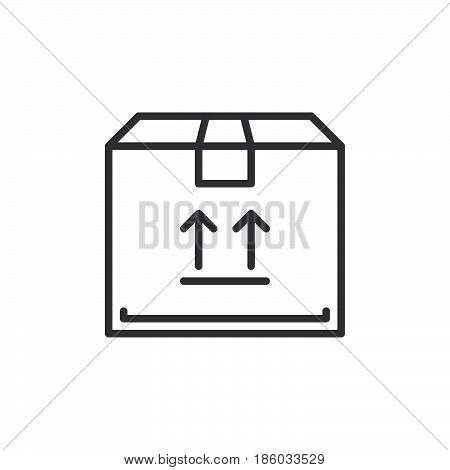 Parcel box line icon outline vector sign linear style pictogram isolated on white. Symbol logo illustration. Editable stroke. Pixel perfect