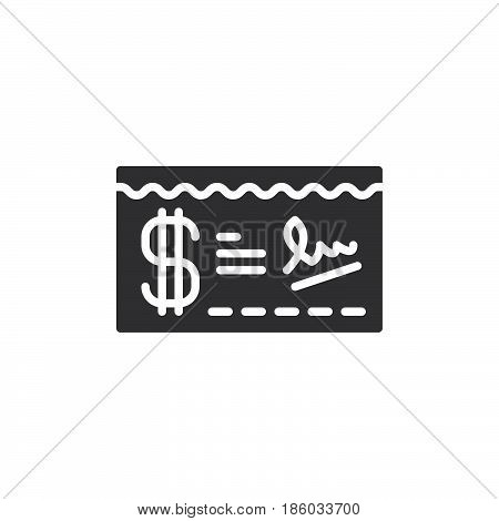 Paycheck icon vector filled flat sign solid pictogram isolated on white. Symbol logo illustration. Pixel perfect